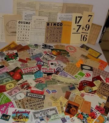 150 pc vintage ephemera paper pack variety lot tickets stamps labels game Q