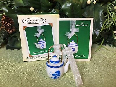 Hallmark 2005 Miniature Ornament Afternoon Tea, Porcelain and Metal, NEW