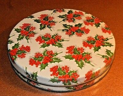 Vintage Round Tin by ACC Atlantic Can - Holly Design For Fruitcake or Cookies