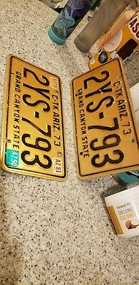 Vintage 1973 Arizona License Plate matched Pair Grand Canyon State - c tk truck