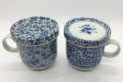 Two Asian Blue and White Tea Cups with Lids No Chips Or Cracks
