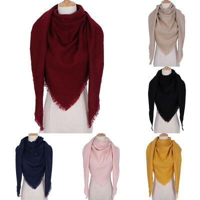 Women's Winter Warm Triangle Scarf Shawl Solid Cashmere Scarves Blanket Wrap