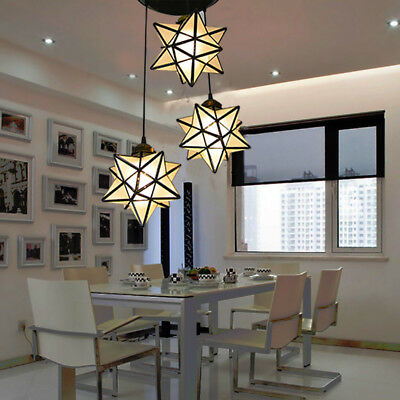 Creative Romantic 3 Crystal Glass Star Shade Ceiling Hanging Pendant Light Decor