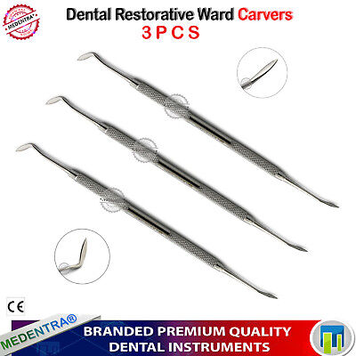 Set of 3 Dental Amalgam Ward Carver Composite Restorative Filling Dentist Tools