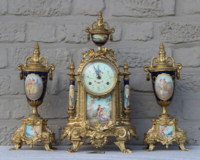 French Porcelain victorian scene Clock set candelabras urns FHS marked