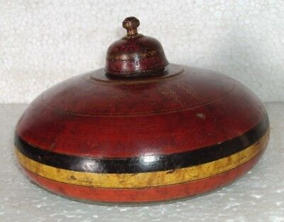 Vintage Indian Single Wooden Round Box Hand crafted Painted Beautiful Box 005