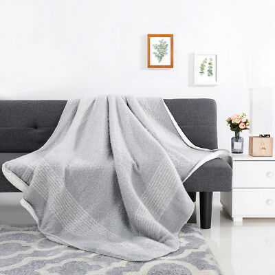 "60"" X 80"" Cozy LANGRIA Boucle Sherpa Reversible Throw Blanket Acrylic Polyester"