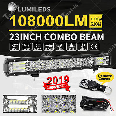 23inch Philips LED Light Bar Spot Flood Offroad Driving Work 4x4 Truck w/ Remote