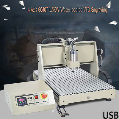 CNC 4 Axis 6040T 1.5KW Water-cooled VFD Engraving Machine with 3-year Garranty!!