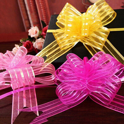 10pcs Organza Ribbon Pull Bows Gift Wrap Florist Arrangement Party Decor one
