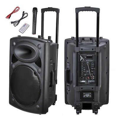 "15"" 1500w Portable Active Bluetooth Wireless Pa Speaker Mic AMP USB SD LCD FM"