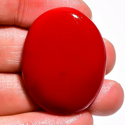 46 Ct. Red Coral Oval Cabochon Loose Gemstone 34X25X7 Mm As-202