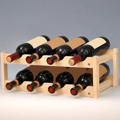Wine Bottle Rack Storage Holder Solid Wood Shelf Cellar Decor Liquor Display