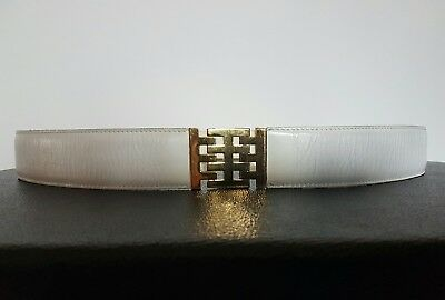 Rodo Cintura Donna In Pelle Col. Bianco White Leather Belt Vintage Anni 1970