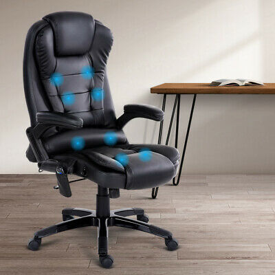 8 Point Massage Chair Executive Office Vibrating Leather Seat Reclining Black