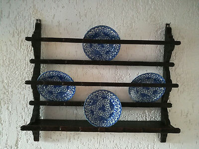 1800's hand carved wall hanging Plate Rack