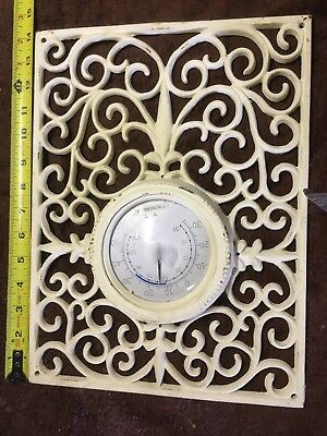 "Antique Register Vent Grate Heater 14""x10-5/8"" W/ Thermometer Iron"