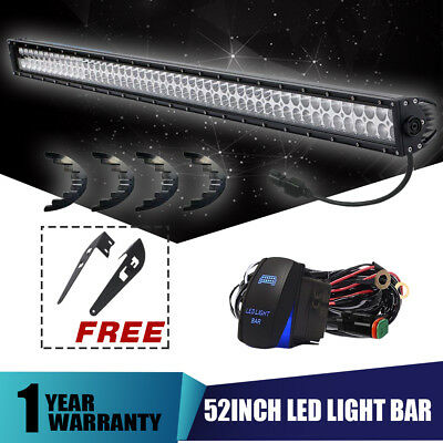 52in 3000W Straight Cree Led Spot Flood Combo Double Row Driving Light Bar 50''