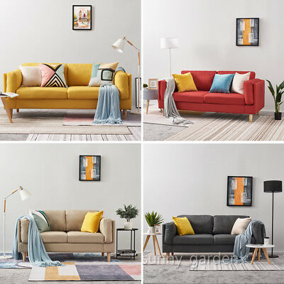 New 2 / 3 Seater Fabric Sofa Settee Couch Home Living Room Furniture - 5 Colours