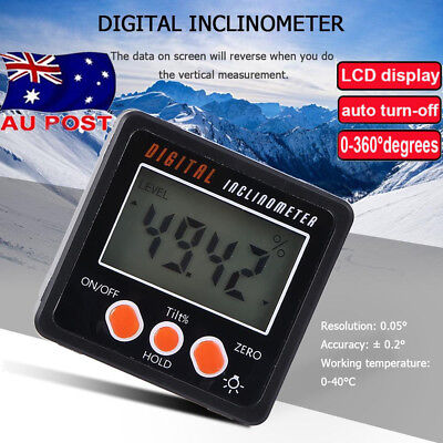 Digital LCD Protractor Angle Finder Bevel Level Box Inclinometer MeterMagnet AU