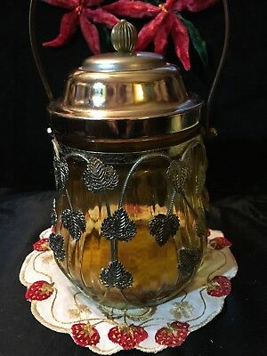 "Vtg Amber Glass Biscuit Barrel~Metal Vine Decoration~Music Box in Lid~8 Tx 4.5""W"