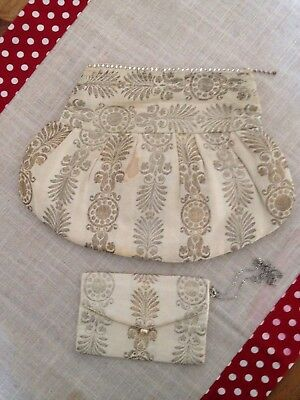 Gorgeous Antique French Style? Brocade Silk? Clutch Bag With Handmade? Purse