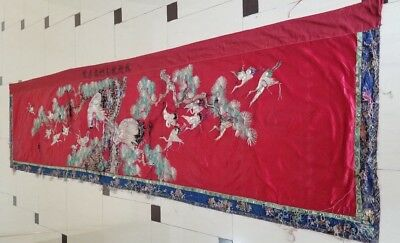 Large Antique Chinese Hand Embroidery Silk Wall Hanging Panel 404X91cm (X933)
