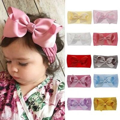 1x Cute Baby Kids Girls Big Bow Tie Head Wrap Bowknot Headband Newborn Hair Band