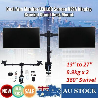 "13-27"" 360° 2*Arm Monitor LED LCD Screen VESA Display Bracket Stand Desk Mount"