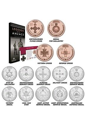 2017 Australian Legends of ANZAC 14 Coin 20c and 25c Complete Set