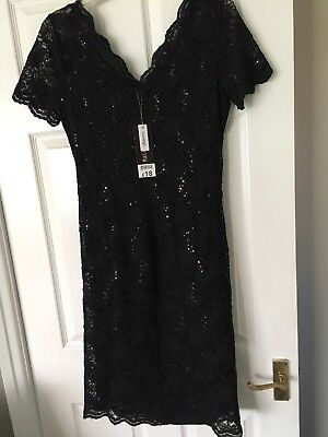 Lovely: George Maternity  Black Sequined Dress. Size 12. Brand New With Tags.
