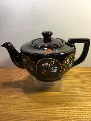 Japanese Porcelain Teapot Brown Hand Painted Floral With Gold Trim