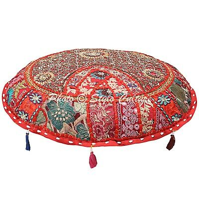 Ethnic Round Floor Cushion Cover Vintage Patchwork Red 22x22 Cotton Foot Stool