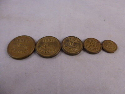 Set of Antique Victorian Brass Flat  Weights 1-5 Troy Oz