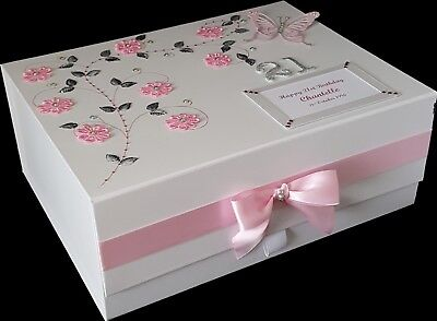 18th Birthday Gift Large PERSONALISED Keepsake Memory Box Daughter Sister Pink