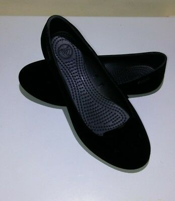 ca90703a777ef3 Crocs Black Classic Flat Ballet Velvet Shoes Slip On Womens Size W 5