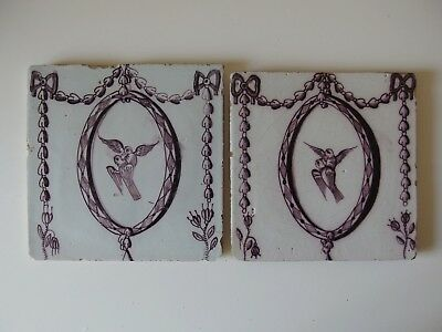 "A pair 18th Century DUTCH DELFT TILES MANGANESE ""TURTLEDOVES"""