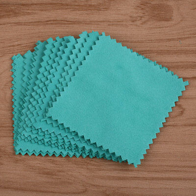A50F Restores 10Pcs Jewelry Polishing Cleaning Cloth Sterling Silver 8*8cm Blue