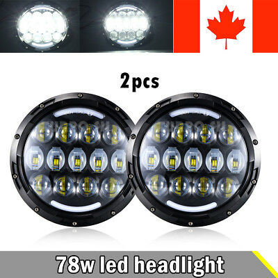 7inch Round LED Headlight Kit Hi/Low Beam For Jeep Wrangler Land Rover Defender