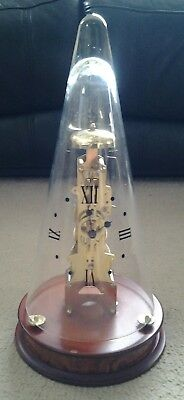 Franz Hermle 791-081 Skeleton Clock Movement Glass Conical Dome Clock