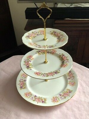 Lovely Vintage Colclough Large Bone China Wayside 3 Tier Cake Stand
