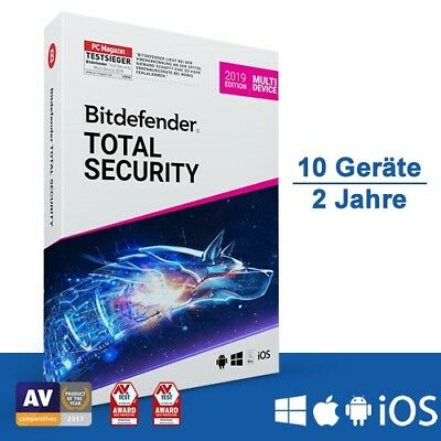 Bitdefender Total Security 2019 Multi-Device, 10 Geräte - 2 Jahre, Deutsch, Down