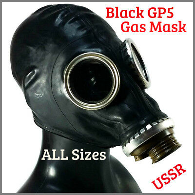 Soviet Russian Gas mask GP-5 Black Rubber USSR Military surplus SIZE S M L XL
