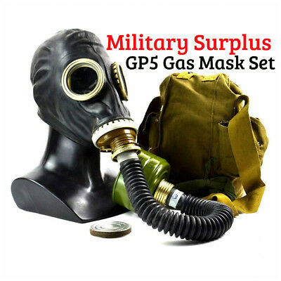 Soviet Russian Military Gas mask GP-5 Black rubber w/ Hose Full set ANY SIZE NEW