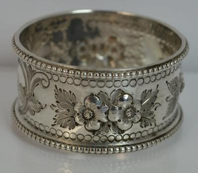 1878 Victorian Silver Napkin Ring Engraved with Full Floral Pattern