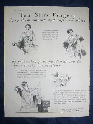 1928 Vintage Print Ad Ivory Flakes Ivory Soap Ten Slim Fingers
