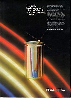 1982 Old Vintage Print Ad: Alcoa - Recyclable Aluminum Beverage Can