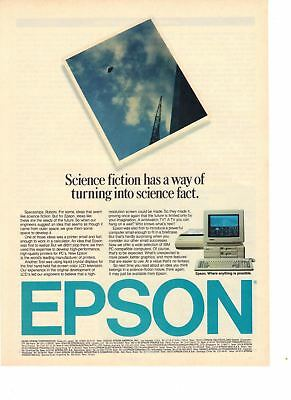 1986 Old Vintage Print Ad: Epson Personal Computer Science Fiction/Fact