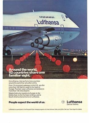 1988 Lufthansa German Airlines 82 Countries Share One Sight Vintage Print Ad