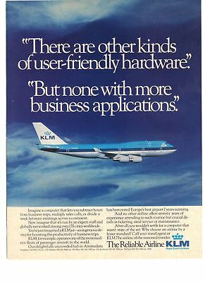 1989 KLM Royal Dutch Airlines The Reliable Airline Vintage Print Ad